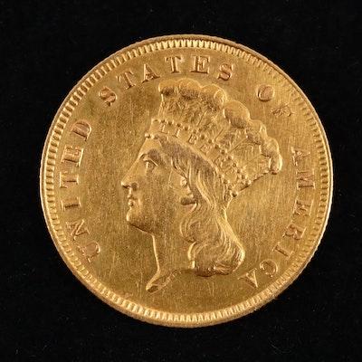 1878 Indian Princess Head $3 Gold Coin