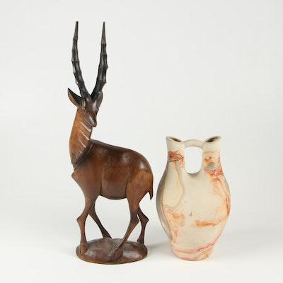 Nemadji Indian Pottery Vase and Carved Wood Gazelle Sculpture