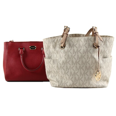 Michael Kors Jet Set Monogram Tote and Convertible Satchel in Saffiano Leather