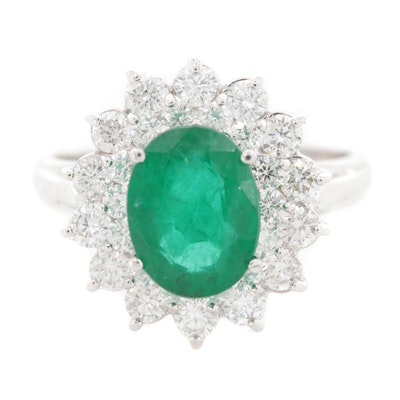 14K White Gold 2.47 CT Emerald and 1.26 CTW Diamond Ring