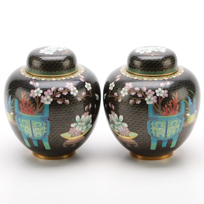 Chinese Enamel Cloisonné Matching Tea Caddies, Early Republic Period, 1912-1949