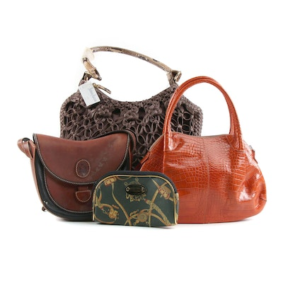 Vittadini and Other Leather and Textile Handbags with Coated Canvas Zip Pouch