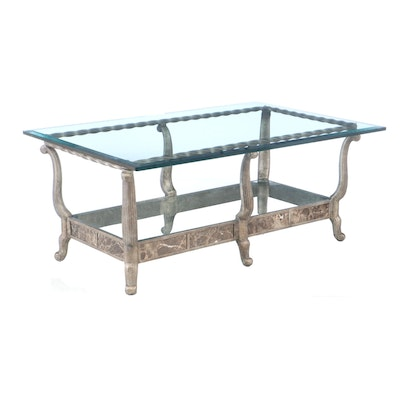 Glass Top Metal Coffee Table, Contemporary