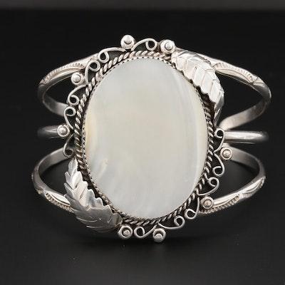 Southwestern Style Sterling Silver Mother of Pearl Cuff Bracelet