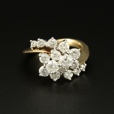18K Yellow Gold 1.25 CTW Diamond Bypass Ring
