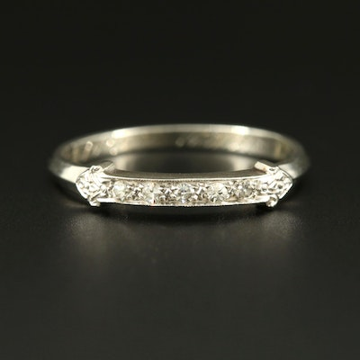 Vintage 18K White Gold Diamond Band