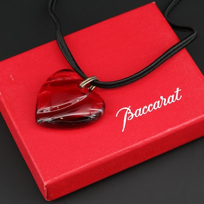 Baccarat Glass Crystal Heart Pendant Necklace