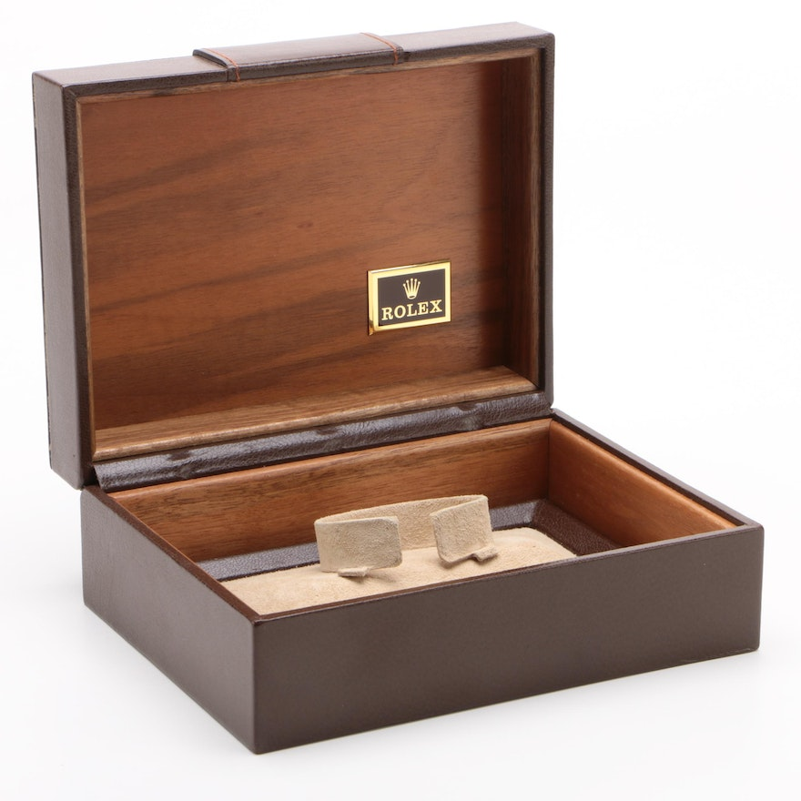 Rolex Brown Leather and Wood Watch Case with Buckle Accent