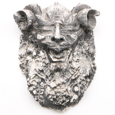 Satyr Horned Man Plaster Wall and Hanging Decor