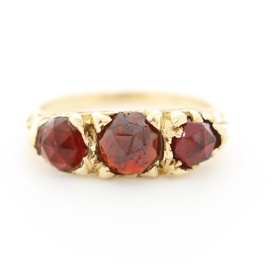 Vintage 14K Yellow Gold Garnet Ring With Scrollwork Accents