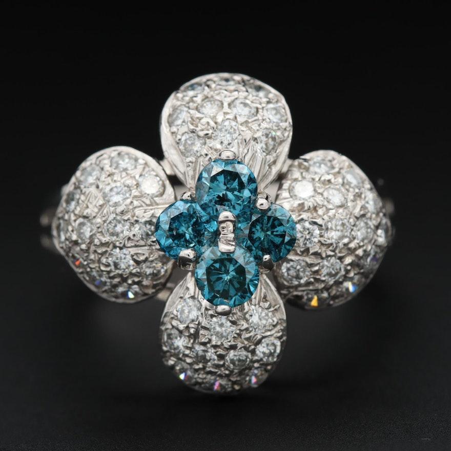 14K White Gold 1.28 CTW Diamond Flower Ring