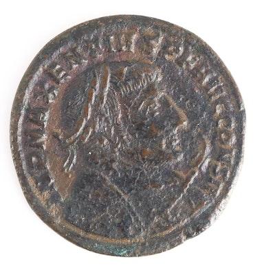 Ancient Roman Imperial AE Follis of Maxentius, ca. 309 A.D.