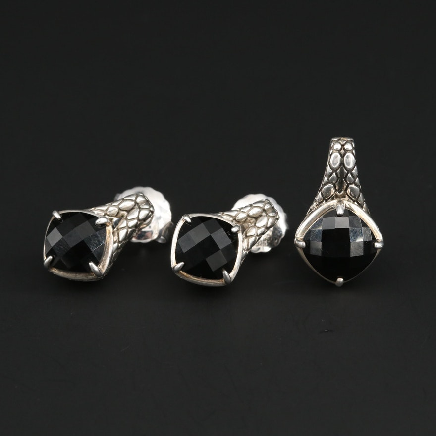 Colore Sg Sterling Silver Black Onyx Earrings and Pendant