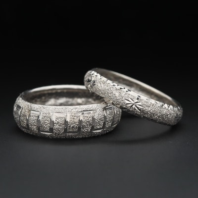 14K White Gold Diamond Cut Style Rings