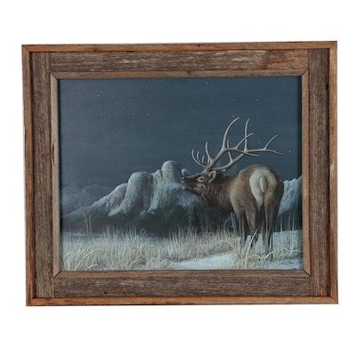 Jack Davis Oil Painting of Reindeer, 1986