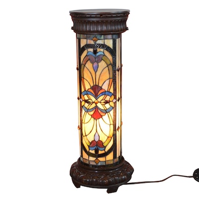 Stained Glass Pedestal Floor Lamp, Late 20th Century