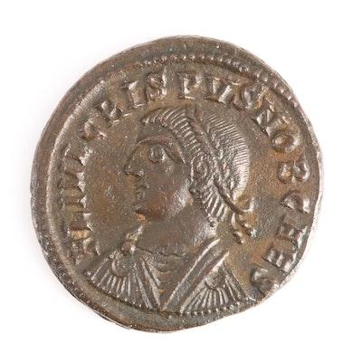 Ancient Roman Imperial AE follis of Crispus, ca. 325 A.D.
