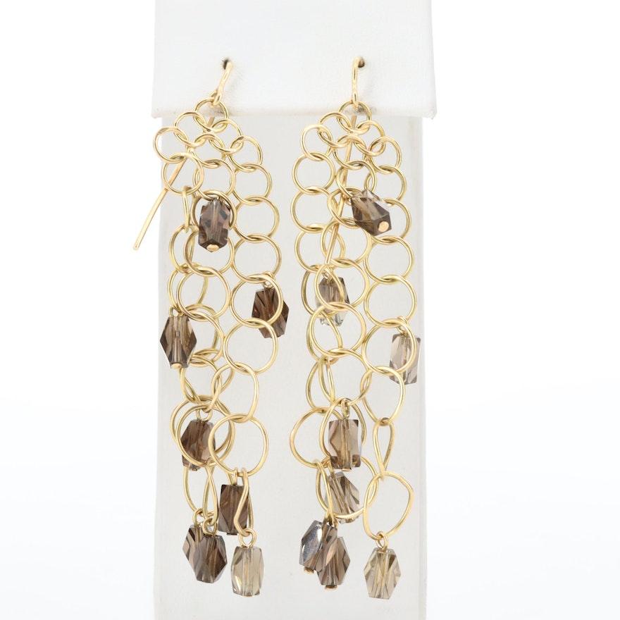 Piero Nutini for Gucci 18K Yellow Gold Smoky Quartz Chainmail Earrings