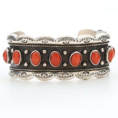 Signed Southwestern Style Sterling Silver Coral Cuff Bracelet