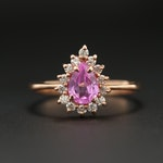 14K Rose Gold Pink Sapphire and Diamond Halo Ring