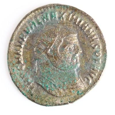 Ancient Roman Imperial AE Antoninianus Coin of Maximianus, ca. 285 A.D.