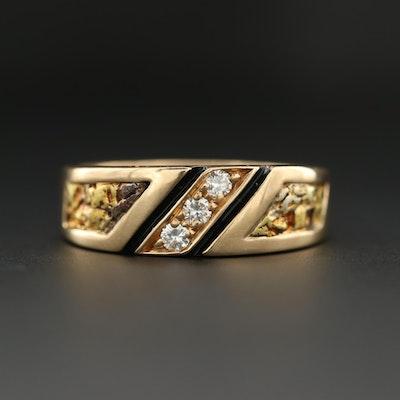 14K Yellow Gold Diamond Nugget Ring