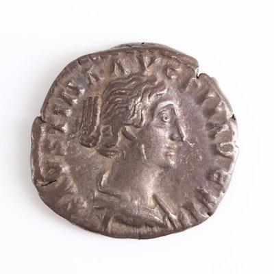 Ancient Roman Imperial AR Denarius Coin of Faustina II, ca. 152 A.D.