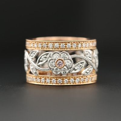 18K Yellow and White Gold 1.09 CTW Diamond Floral Ring