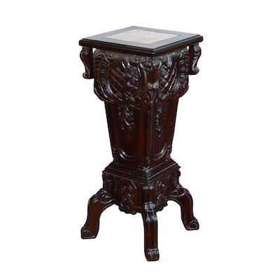 Victorian Style Rosewood Stained Pedestal Plant Stand, Vintage