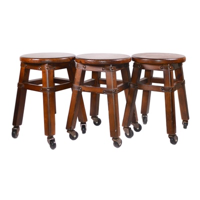 Four Pine Stools on Casters, Late 20th Century