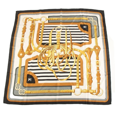 "Hermès ""Coaching"" Silk Twill Scarf Designed by Julia Abadie, 1970s Vintage"