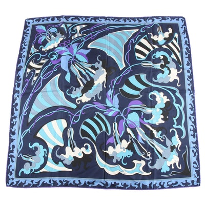 Emilio Pucci Blue Abstract Print Silk Twill Scarf