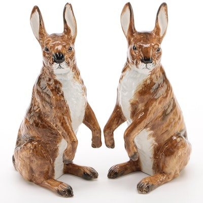 Chelsea House Italian Faience Rabbit Figurines