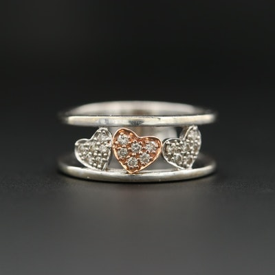 14K White Gold Diamond Heart Ring with Rose Gold Accent