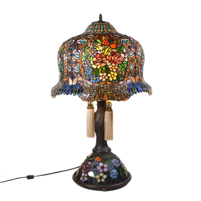 Art Nouveau Style Stained Glass Floral Table Lamp, Contemporary