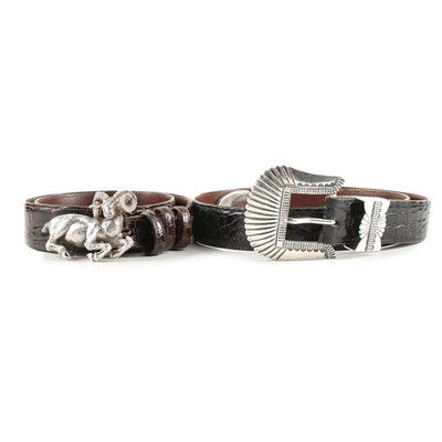 Lana of London and Southwestern Sterling Buckles on St. Pierre Leather Belts