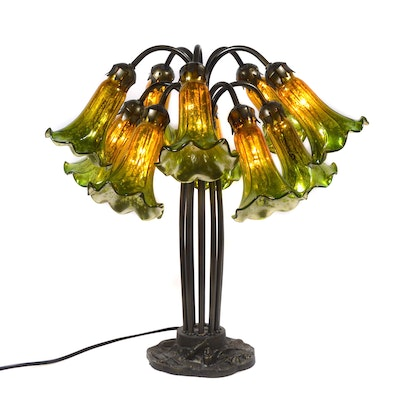 Art Nouveau Style Mercury Glass Tulip Table Lamp, Contemporary