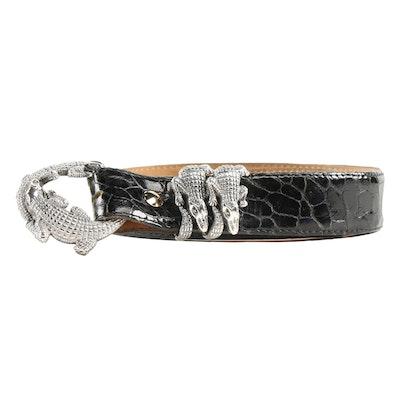 Jeff Deegan Designs Sterling Double Alligator Buckle Set on Black Leather Belt