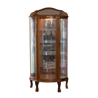 Bow Front Illuminated Oak Curio Cabinet, Vintage