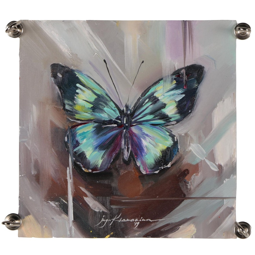 Inga Khanarina Oil Painting of Butterfly