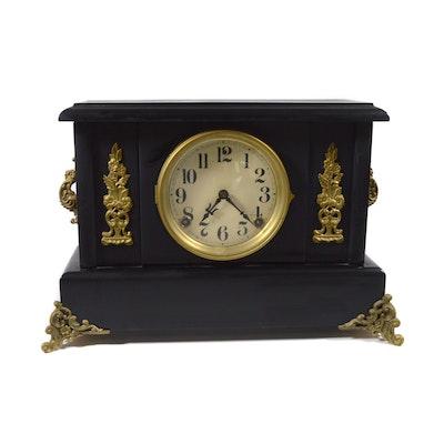 Black Wood with Bronze Mounts Mantel Clock, Vintage