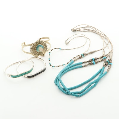 Mexican Abalone and Turquoise Bracelets and Necklaces