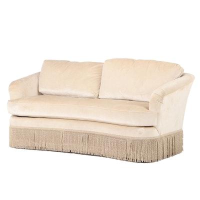 Thomasville Upholstered Fringe Skirted Love Seat, Contemporary