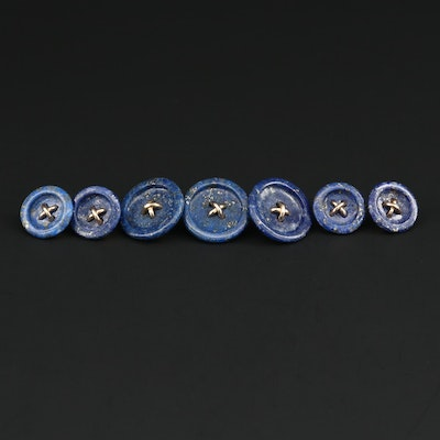 Vintage Tiffany & Co. 14K Yellow Gold Carved Lapis Lazuli Buttons