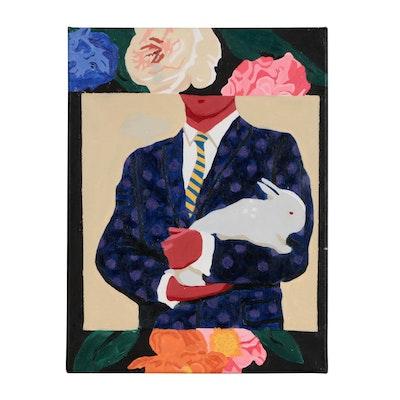 "Cori Bonta Acrylic Painting ""Bunny"""