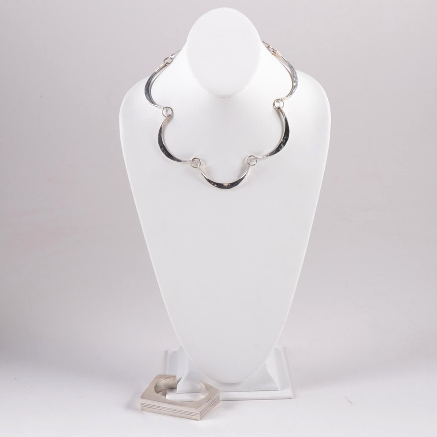 Sterling Silver Link Necklace and Modernist Square Cuff Bracelet