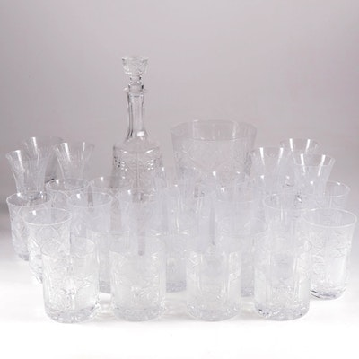 American Brilliant Cut Glass Decanter, Cocktail Glasses and Stemware