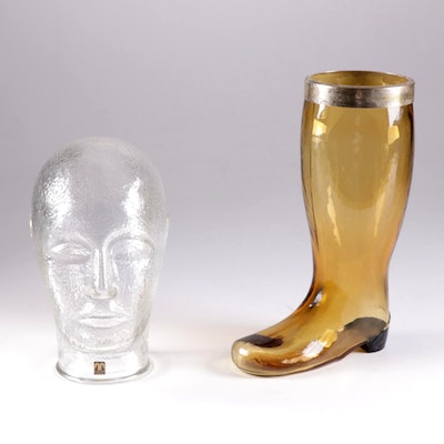 Cascade Glass Mannequin Head and Czech Amber Art Glass Boot