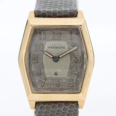 Vintage Harwood 18K Yellow Gold Tonneau Automatic Wristwatch, 1929