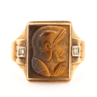 Victorian 10K Yellow Gold Tiger's Eye Cameo and Diamond Ring